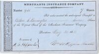 Rhode Island Governor W. W. HOPPIN 1881 Signed Stock Certificate