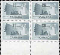 Canada Mint NH F+ Scott #316 20c 1952 Block of 4 Forestry Stamps