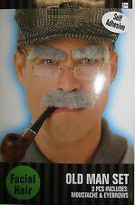 Uomo Anziano Costume Set Rettangolo Grigio Baffi & sopracciglia