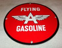 "VINTAGE FLYING A GASOLINE +WINGS 11 3/4"" PORCELAIN METAL GAS OIL SIGN PUMP PLATE"