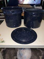 "Vtg Steam Pot Lobster Corn Clam Boil Broth-Blue Enamel W/ White Speckles-10""x9""!"