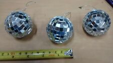 "One 2"" SILVER MIRRORED DISCO BALL glass mirror party favor car hanging"