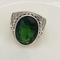 Vintage 316L Stainless Steel Vogue Design Mini Stone Ring New Size 8 9 10 11 ~!