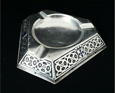 PORTUGUESE STERLING SILVER  ENAMEL COAT ARMS CIGAR STAND / ASH TRAY ANTIQUE