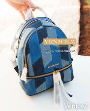 BNWT MICHAEL KORS RHEA Small Backpack Patchwork Denim Shoulder Bag Blue Gold