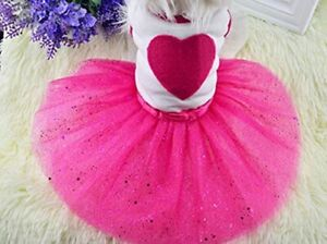 Pet Dog Cat Puppy Tutu Princess Dress Heart Printed Lace Skirt Clothes Pet Dress