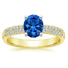 1.20 Ct SI1 Real Blue Sapphire Wedding Ring 14K Yellow Gold Diamond Rings Size M