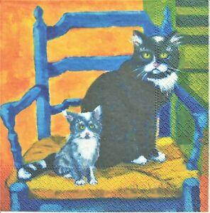 1 Lunch Papier Serviette Napkin (BP578)  Katze mit Kitten