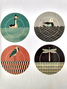TOM FROST For Magpie Box Set 4 PONDLIFE Plates Dragonfly, Duck, Grebe & Heron
