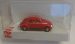 Busch 52901 - 1/87 / H0 VW Coccinelle Avec Fenêtre de Bretzel, Rouge - Neuf
