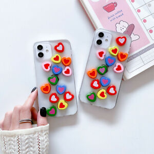 For iPhone 11 12 Pro Max 7 8 Plus XR Cute Hearts Case TPU Shockproof Soft Cover