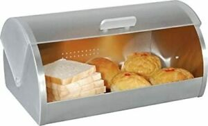 New EUROPEWARE Silver + White BREAD BOX Stainless Steel Sleek Design 0309 NIB