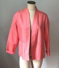 Eileen Fisher M Flamingo Salmon Pink Silk Kimono Jacket Top