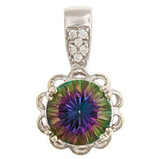 Mystic Topaz Pendant  9mm 14kt White Gold