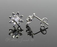 Real Solid 925 Sterling Silver Daisy Flower Cubic Zirconia Girls Womens Earrings