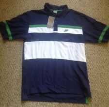 Nike Men's Navy Blue Green White Rugby NIKE SWOOSH Polo Shirt Men's Medium  Nwt!