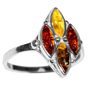 2.7g Authentic Baltic Amber 925 Sterling Silver Ring Jewelry s.8 N-A7411B