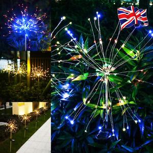 1/2/4X 90 LED Garden Solar Powered Firework Lamp Starburst Stake Outdoor Light