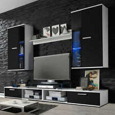 wall unit furniture tv stand living room White & Black 4 pices set