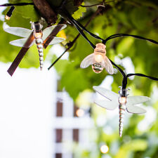 20 Warm White LED Bee & Dragonfly Solar Powered Garden Patio Fairy String Lights