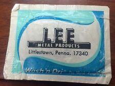 Lee Metal Products Littlestown, Pennsylvania moist towelette