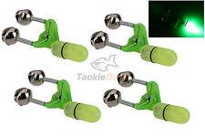 4x LED Night Fishing Bite Bait Alarm Twin 2 Bells Light Rod Tip Clip Alert Ring