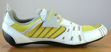 Diadora White Yellow Carbon Duel Sole Multiped Race Fit Cycle Shoes Mens 12.5