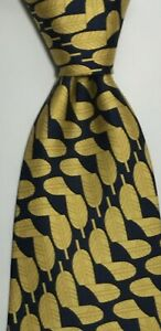 Gucci Made In Italy Men's Luxury Silk Tie Gold and Navy Blue