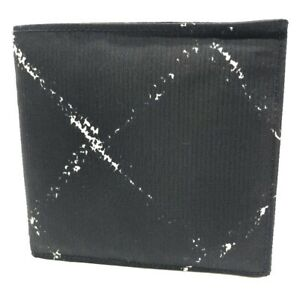 CHANEL Old travel line Compact folding Folded wallet Nylon Black