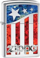 Zippo 2016 Catalog NEW American Flag Fusion Zippo Logo High Polish Chrome 29095