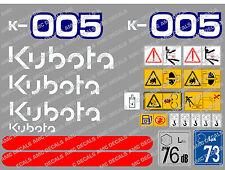 KUBOTA K005 ENSEMBLE COMPLET AUTOCOLLANT MINI PELLE