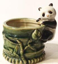 """Panda Climbing Bamboo Shoot Ceramic 5""""x5"""" Planter Vintage Marked B-614"""