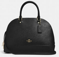 Coach F27590 Crossgrain Leather Sierra Satchel Handbag Black