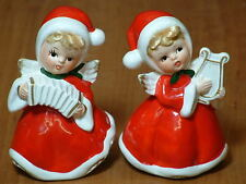 Vtg Snow Angel Figurines w/ Harp Squeezebox & Hair Collectible Norcrest Art