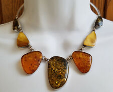 Genuine Baltic Amber 925 Sterling Silver Collar Necklace (1+ Inch Stones) NWT