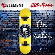 """Element Complete Skateboard - 31"""" Canadian Maple Ply, Skull [Titanium Yellow]"""