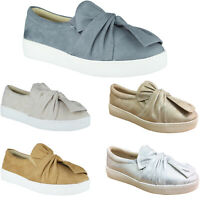 Womens Ladies Slip On Pumps Trainers Casual Bow Loafers Plimsolls Flat Shoes New