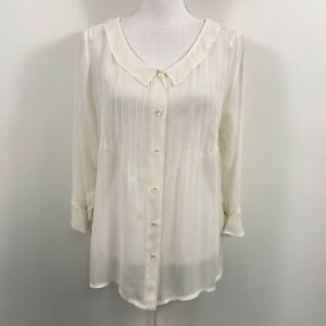 April Cornell Womens Small White Tunic Top Button Blouse Shirt Pin Tuck L/S G80