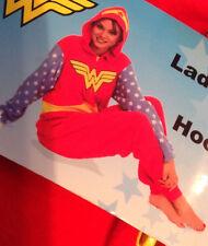 Wonder Woman Hooded One Piece Pajamas Fleece Costume Womens XL NWT