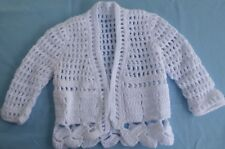 BABY HAND CROCHET JACKET WHITE SUIT NEW BORN TO 3 MONTH OLD (63)