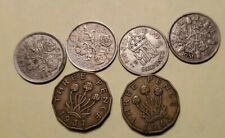 lot of 6 pence coins (4- six pence 1936 1945 1953 1959, 2- Three Pence 1937 1943