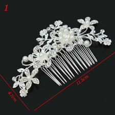 Womens Crystal Diamante Pearls Hairpins Hair Clips Combs Bride Wedding Jewelry