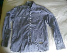 TWO STONED Famous Muscle Fit Shirt, Blue And White Gingham Check VVG, Size Large