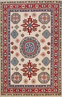 Vegetable Dye IVORY/ RED Super Kazak Oriental Area Rug Hand-knotted Classic 6x9
