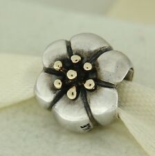 Authentic Pandora 790184 Flower 14K Gold & Sterling Silver Bead Charm