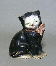 "Vintage Hubley Cast Iron 3"" Black Cat w/ Green Eyes & Pink Bow Figurine"