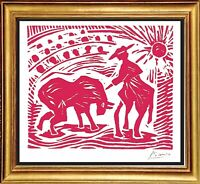 """Pablo Picasso Hand Signed Ltd Edition Print """"Bullfighter (red)"""" w/COA (unframed)"""