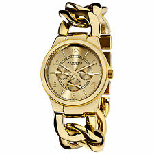 New Women's Akribos XXIV AK531YG Twist Chain Quartz Multifunction Bracelet Watch