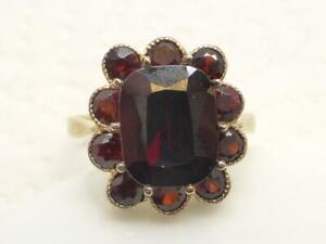 IC Damen Ring 333 / 8k Gelb Gold Gr 51 rote Farb Steine Granat Schmuck Geschenk