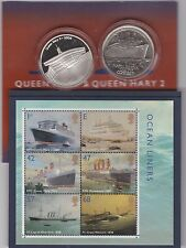 QUEEN Mary & Queen Mary 2 MEDAGLIE ARGENTO & OCEAN LINER TIMBRI ROYAL MINT questione